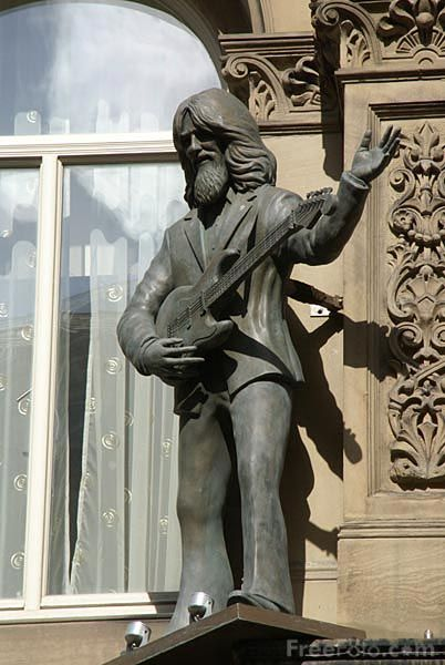Statue of George Harrison outside of Hard Day's Night hotel in LIverpool