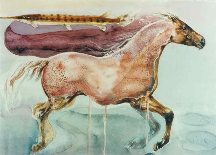 """ The Water Horse"" watercolor 100X70 1995"