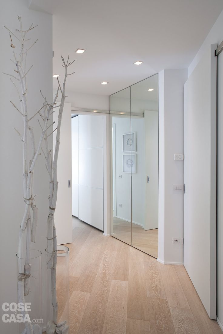 great ideas for a small entrance hall : white ,sliding doors ,large mirror on the closet door,light parquet, adequate lighting and a few beautiful branches - real minimalism