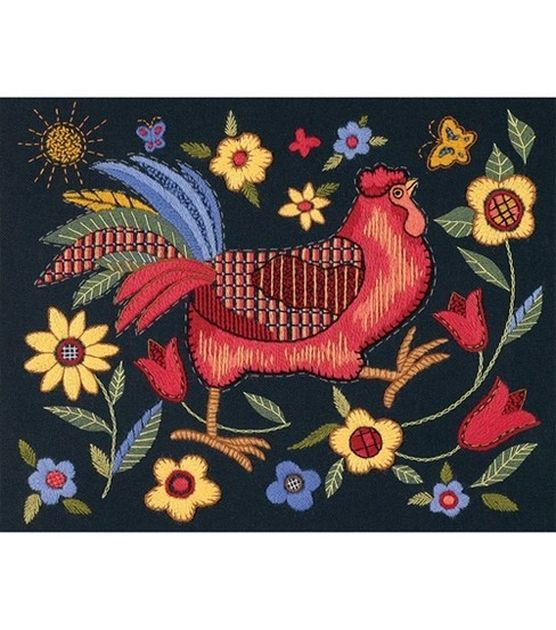 Dimensions Rooster On Black Crewel Embroidery Kit, , hi-res