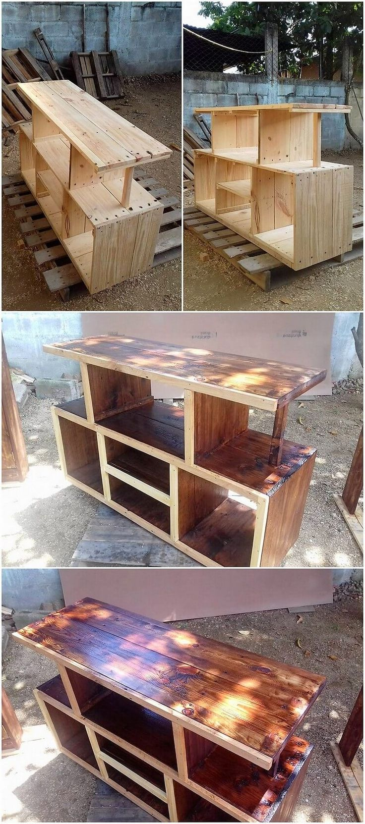 A customized designing of the pallet tv stand has been highlighted here for you. This tv stand has been dramatic added with the wood pallet effect where you will even encounter with the effect of the media table and cabinet divisions too. Grab this idea now!