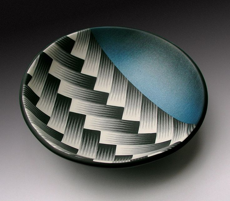 """Dan Cormier, Woven Bowl, c.2000. """"Inspired by Japanese textiles, I made this bowl by experimenting with domes. First using a dapping block (this bowl is 5 or 6 """"dia.) then by scaling up using a previous size bowl to build the next larger one. Pattern here started as individual slices & sheets burnished together in a single flat veneer on a backing layer of clay for thickness; cut into desired shape then form over a dome.  Read more using this link to Dan's Flickr site."""