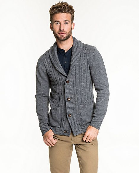 We love the easy pockets of this versatile cotton cardigan designed with a fun shawl collar. #Men #Fashion #StreetStyle