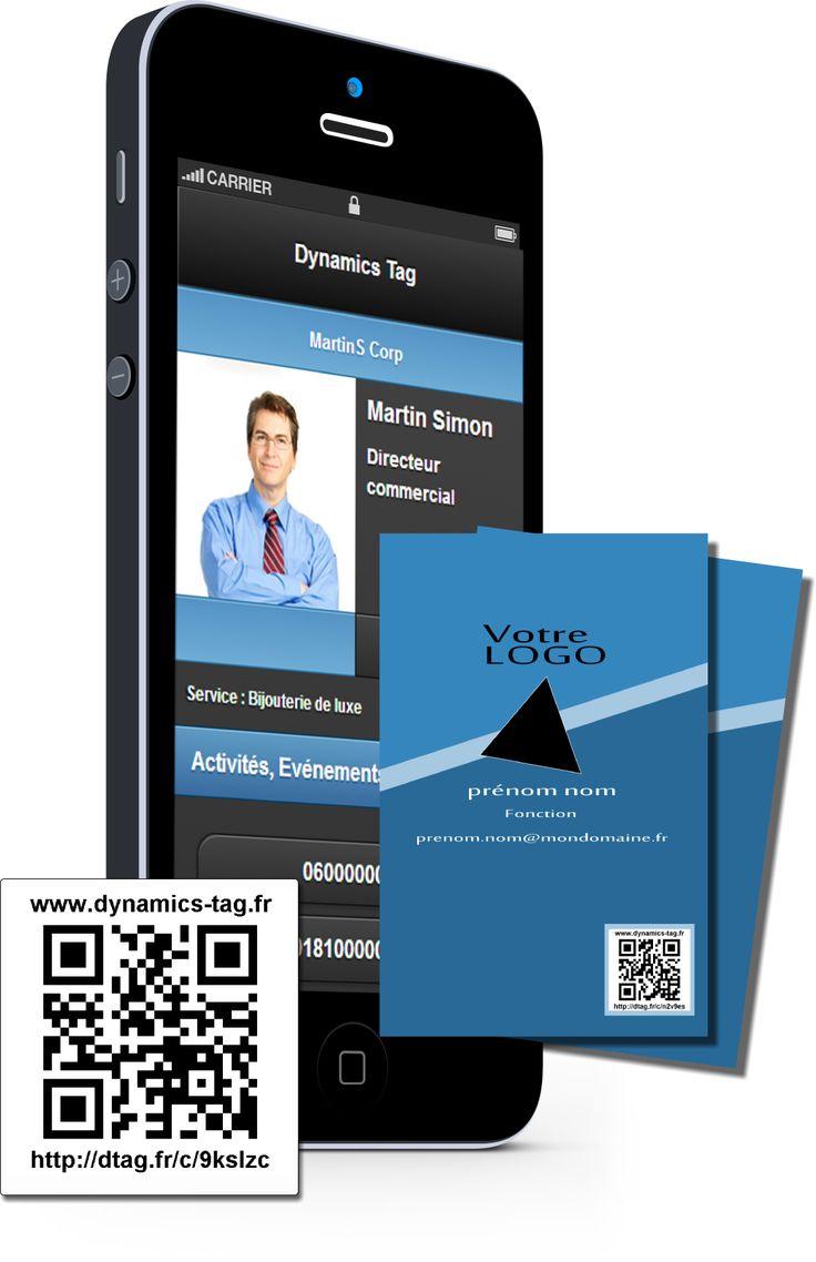 Cartes de visite papier associée à une carte de visite virtuelles via un qrcode : carte fond bleu foncé et bleu clair