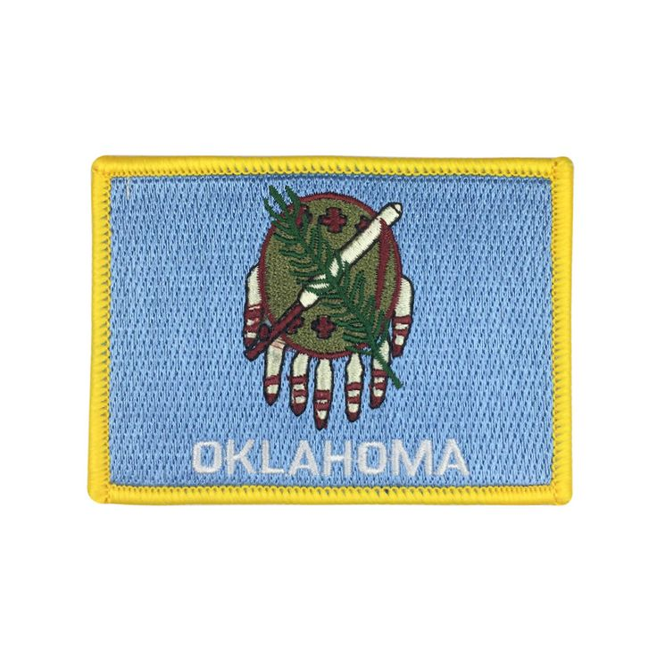 State of Oklahoma Flag Patch US Embroidered Patch Gold Border Iron On patch Sew on Patch badge Patch meet you on www.Fleckenworld.com