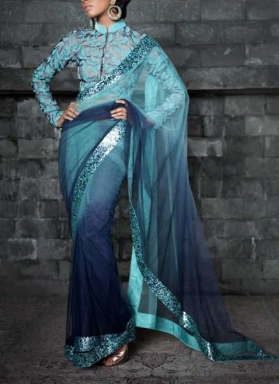 Designer Blue #Ombre Dyed #Net #Saree by Siddartha Tytler.