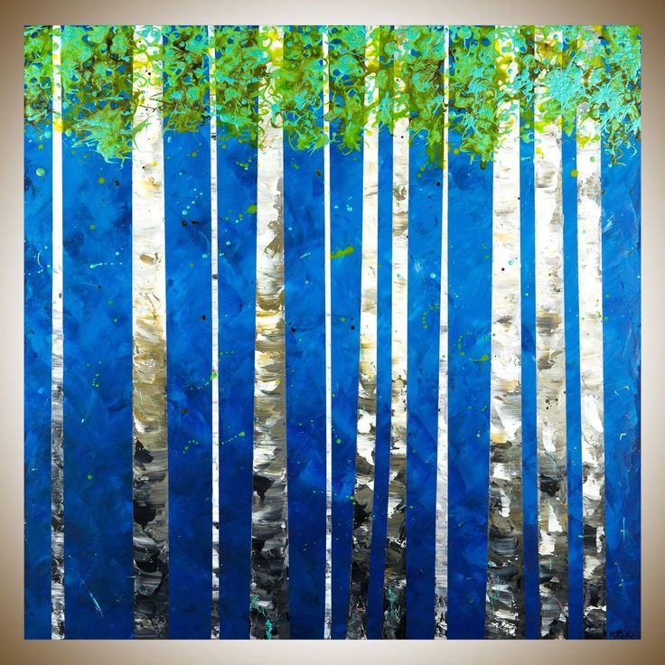 """Spring Has Arrived by QIQIGallery 30"""" x 30"""" Birch painting original abstract wall art wall decor painting on canvas green blue white black home office wall hanging"""