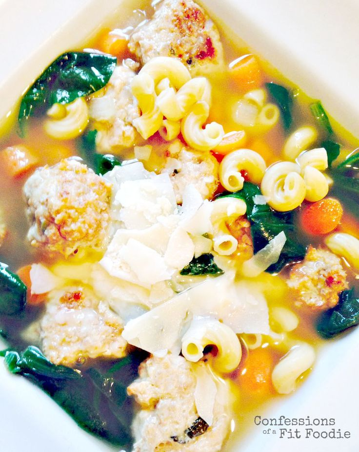 Italian Wedding Soup - using mini meatballs - RED, GREEN, BLUE and YELLOW