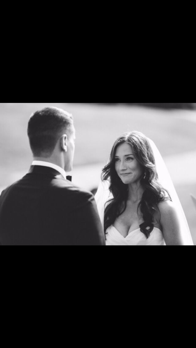 (Her expression.. oh man it gets to me..) Gorgeous brunette bride! All down soft…