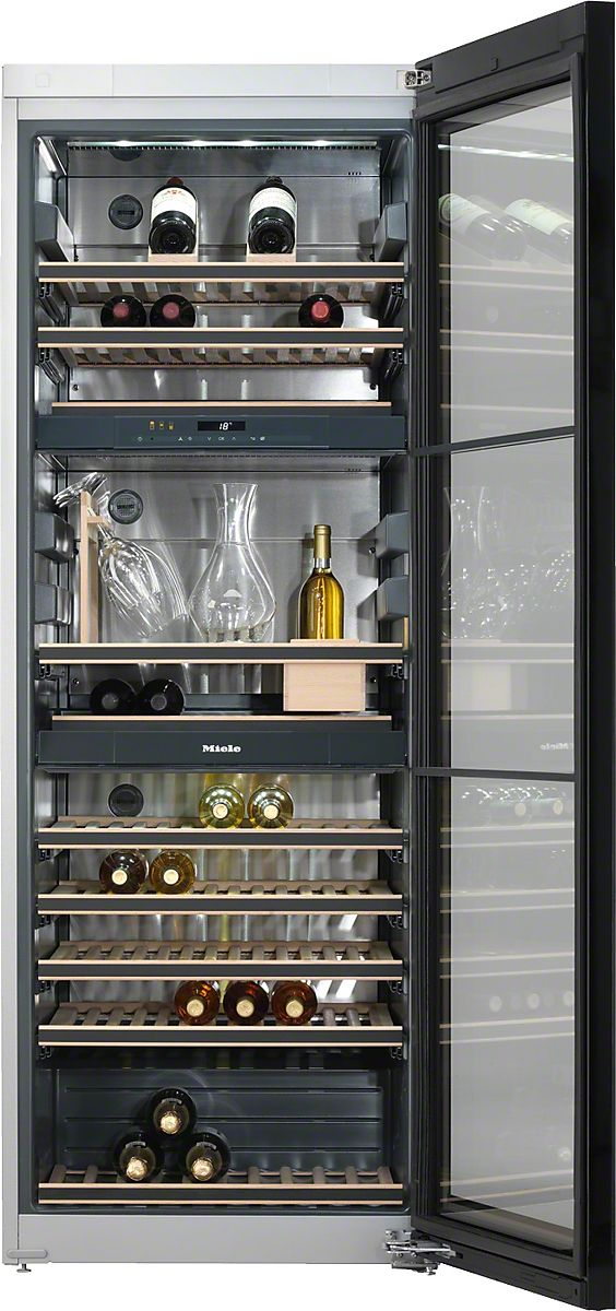 Wine lover? Then you'll love the wine fridge by German quality brand Miele. Keep your wine at the perfect temperature for pure enjoyment!