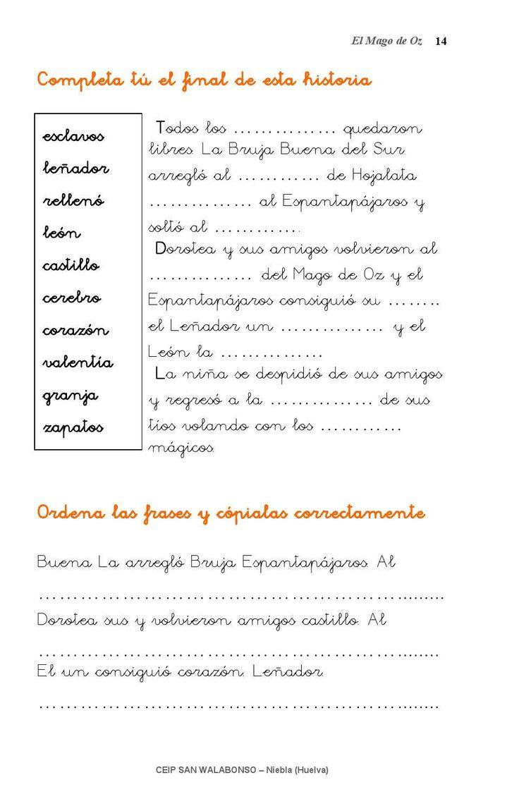 """Libro de actividades para trabajar """"El Mago de oz""""."""