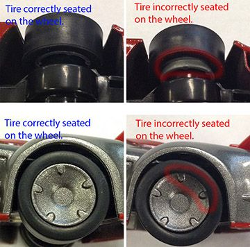 This issue is most often cause by the following reasons.  Misaligned rear tireThe rear tires on the Anki DRIVE cars can occasionally come off or become misaligned from the wheel and cause the car t...