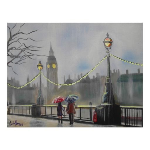Rainy day in London couple with an umbrella Print