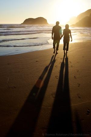 A romantic walk on the sunset beach...