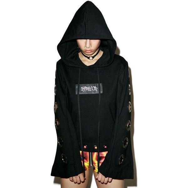 M.Y.O.B. Eyelet Wide Sleeve Hoodie (1 805 PLN) ❤ liked on Polyvore featuring tops, hoodies, slouchy tops, logo hoodie, slouchy hoodie, polka dot top and thick hoodie