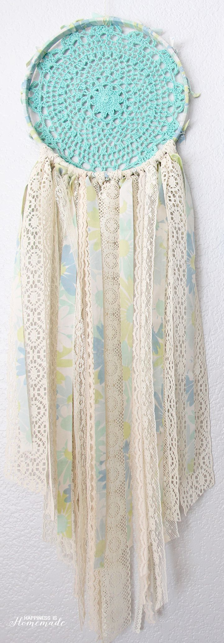 Vintage Sheet & Lace Doily Dream Catcher - Happiness is Homemade