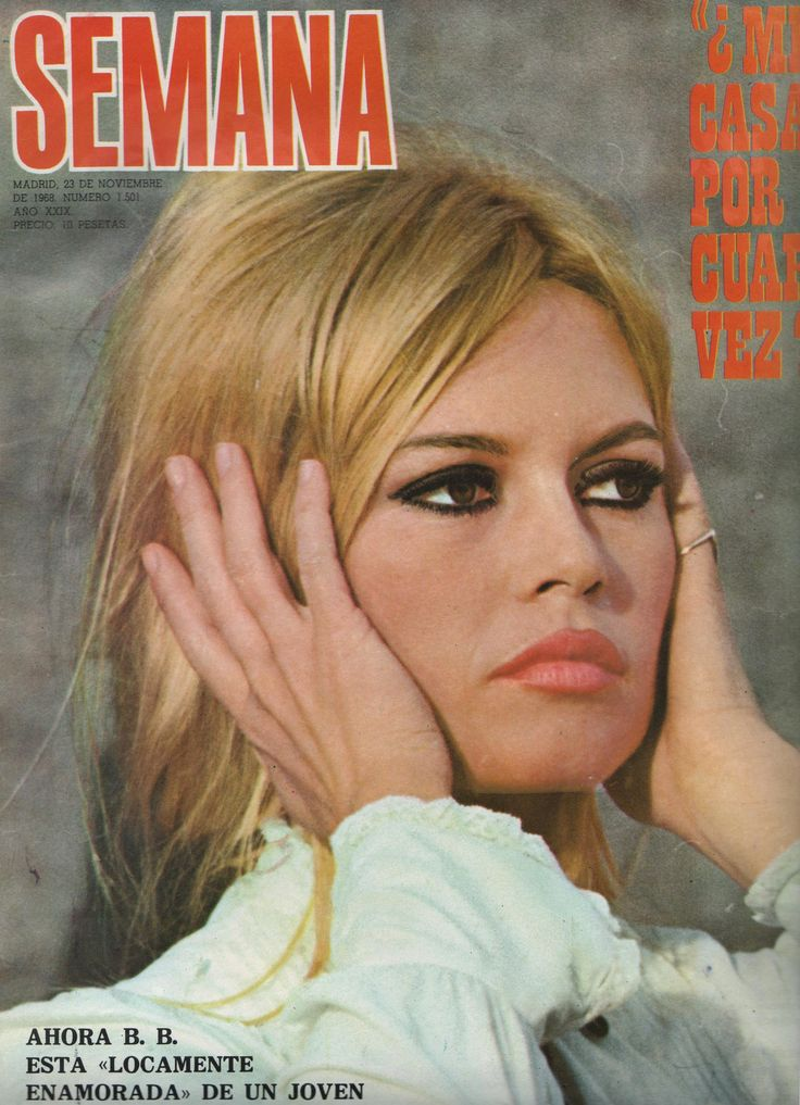 Brigitte Bardot on the cover of Semana magazine, 1968, Spain.