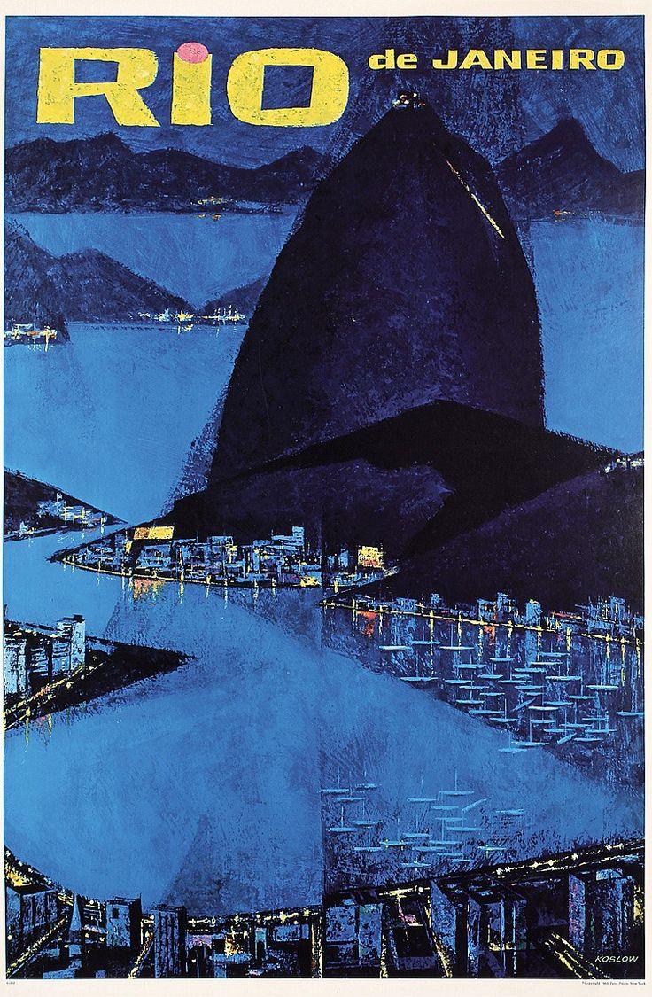 Original 1960's Rio de Janeiro Brazil Travel Poster