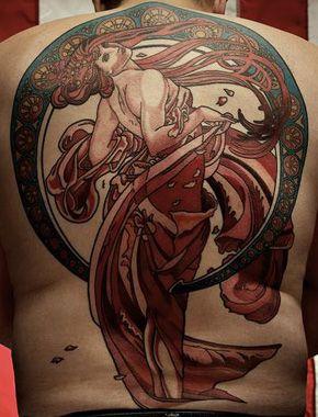 Holy....Art Nouveau, Damn, Tattoo, Carrie Davinier, Art Deco, Alphonse Mucha, Ink, Art Noveau, Alfonse Mucha
