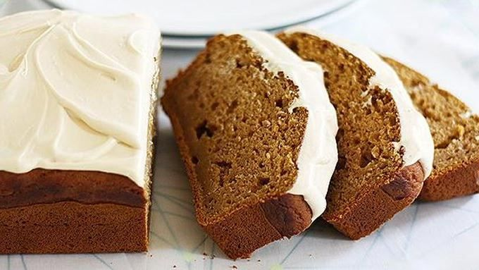 This delicious pumpkin bread with salted caramel frosting is perfect for fall.
