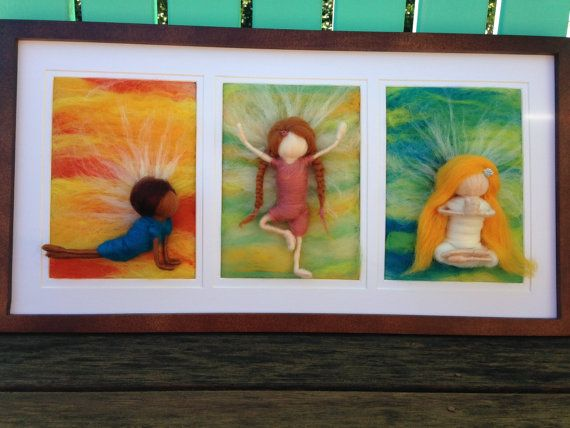 Custom Needle Felted Yoga Painting 3 5x7s  by WoolyRooDolls on Etsy, $160.00 (Original Sold to Yoga Studio)