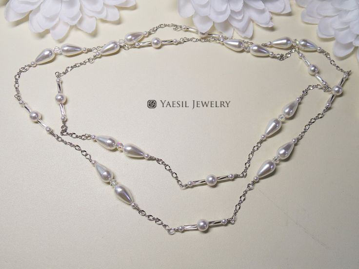 Long Pearl Bridal Necklace: Tear Drop Pearl, Crystal, Glass Bugle Bead Ensemble Fancy Chain Necklace, Downton Abbey Style Wedding Necklace by YaesilJewelry on Etsy
