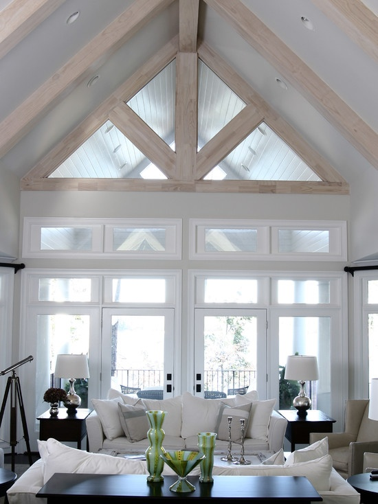 White Living Room With Vaulted Ceiling House And Home Room