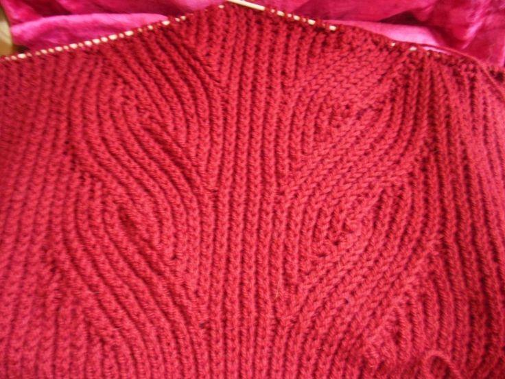 Узор вяжется по схеме на 57 п.Я использовала этот узор для вязания пуловера из нити пехорка Популярная. На спицы №4 набрала 91 п. и связала для планки 6см резинкой.1изн. х 1лиц(начиная в 1-м ряду с кром., 1 изн)