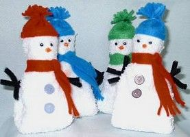 Free Snowmen Crafts - Washcloth Snowman (or Wash Cloth Snowmen)
