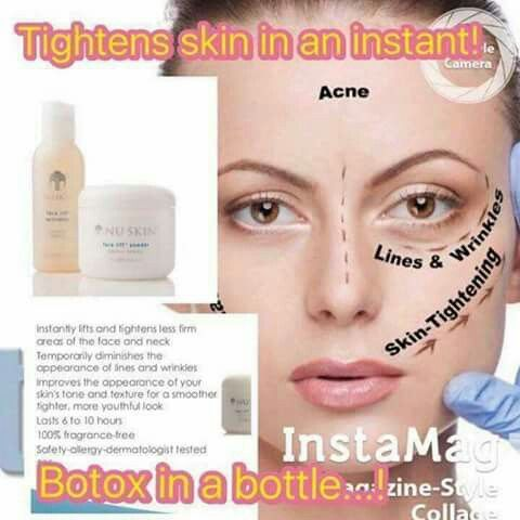 Great product BOTOX in a bottle!! Msg for details great Bank Holiday Deals! nuskin #nuskin #great deals #beauty #greatresults
