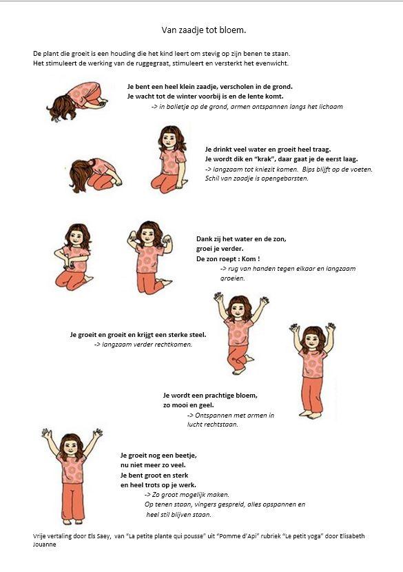 "De plant die groeit.(rijmvorm) Vrije vertaling door Els Saey van ""La petite plante qui pousse"" uit  Pomme d'Api, rubriek « Le petit yoga » door Elisabeth Jouanne"