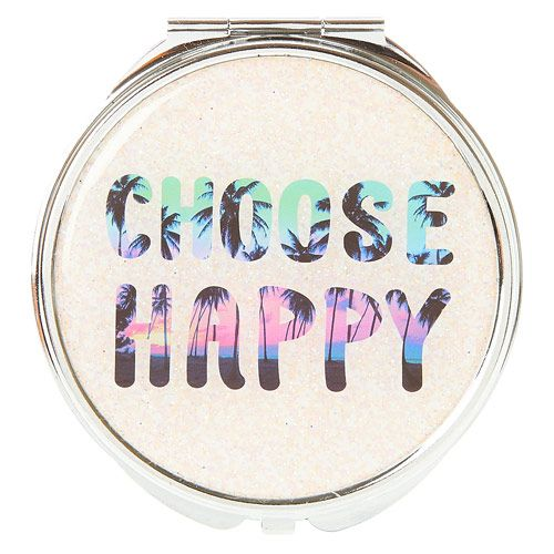 Miroir compact motif coucher de soleil Hawaïen et inscription « Choose Happy » 2,79 €