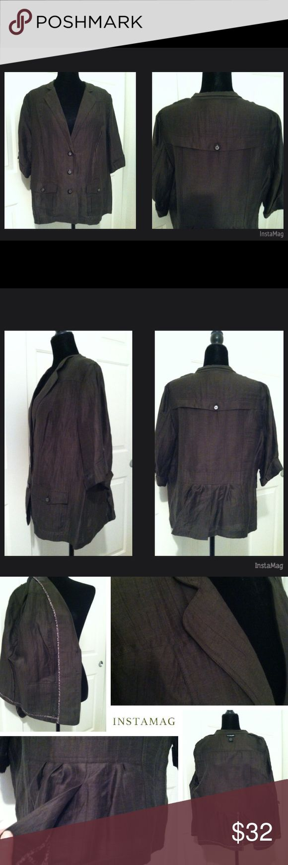 """Lane Bryant Military Green Safari Style Blazer Lane Bryant Military Green Safari Style Blazer     EUC – only worn a few times.  No flaws of any kind!  Has kind of a Safari style, silky feel and lightweight.  Dark military green, leopard trim on inside, but doesn't show outside. Button closure, 2 front flap pockets, no lining, 3/4 sleeve with tab cuffs, decorative back """"flap,"""" slight smock to back waist.  It's super cute; always received compliments.     Armpit to armpit – 24""""  Collar to hem…"""