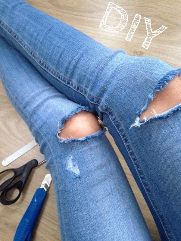 Ripped jean DIY
