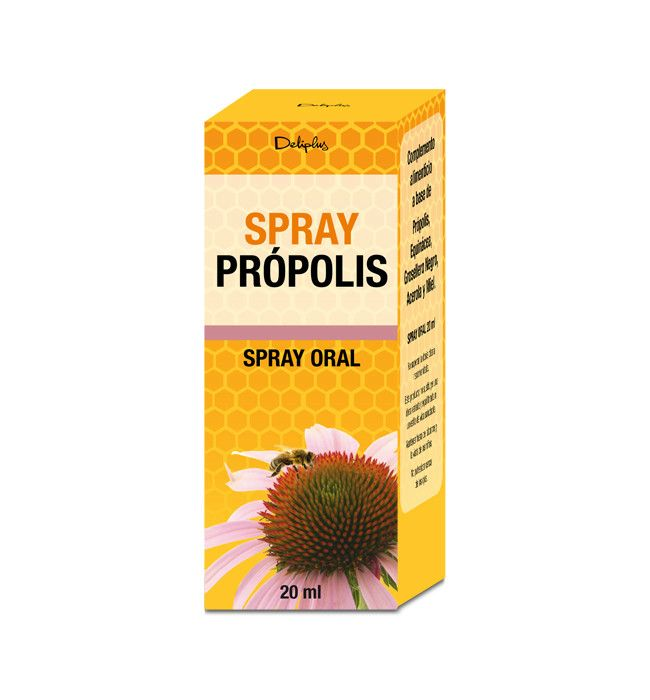 SPRAY PRÓPOLIS Complemento alimenticio a base de Própolis, Equinácea, Grosellero Negro, Acerola y Miel. Spray oral 20 ml.