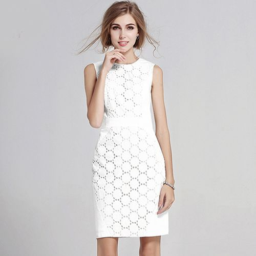 BEFORW Summer Women Sexy Sleeveless Solid Color Slim Large Size Dress Fashion Casual Lace Plus Size White Mini Dresses Do you want it Visit us
