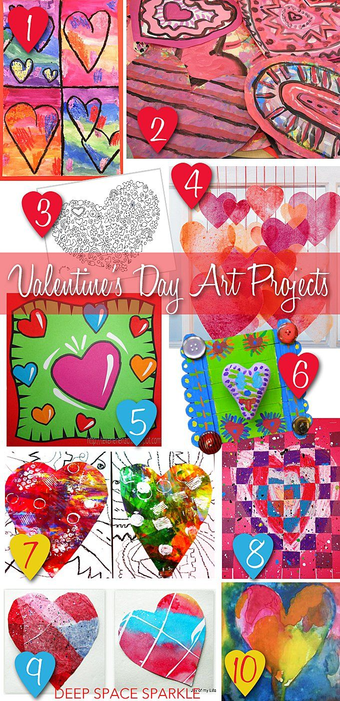 A collection of 10 Valentine's Day Art projects for kids