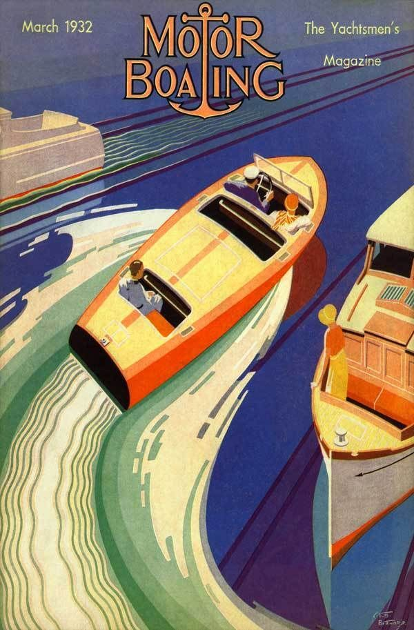 1932 high speed wood boat chris craft dodge art deco poster motor boating