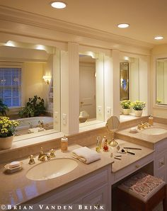 double sink with makeup table like the idea of this.. Not sure ...
