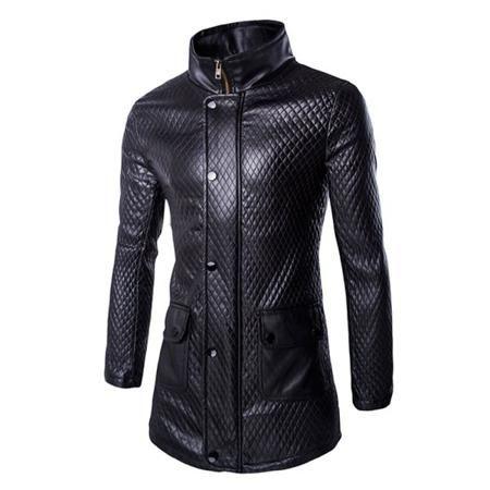 Retro Style Pocket Design Funnel Collar Leather Coat For Men