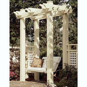 Pretty posts for the swing: Idea, Arbors Swings, Pergolas, Gardens Swings, Outdoor, Arbors Woodworking, Backyard, Porches Swings, Woodworking Plans