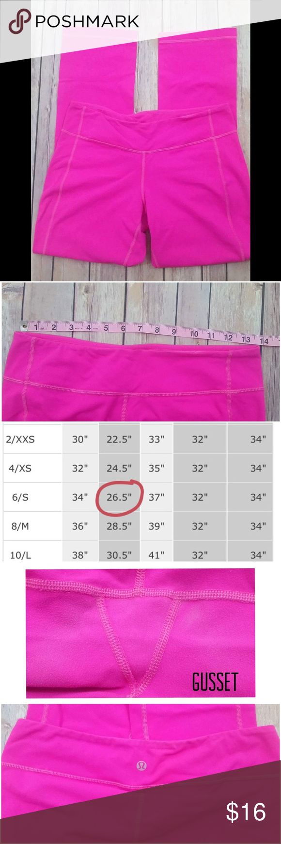 Lululemon- Crops- Bright Pink Very cute! They do show wear. I pictured areas and added a waist measurement since there is no attached tag or size dot. Has fade and piling in gusset area, a spot behind left knee that might come out with stain remover. I will price in consideration of signs of wear. No holes, rips, pet/smoke free.  016 lululemon athletica Pants Ankle & Cropped
