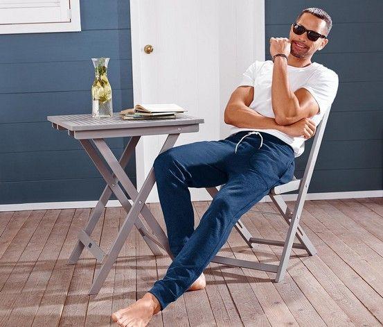 Men's Sleepwear, Relax Pants, Jersey, Dark Blue Melange - Brands For Less
