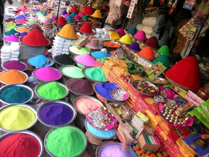 Holi celebration in India featuring colorful paint pigments for coloring everything and everyone in sight!