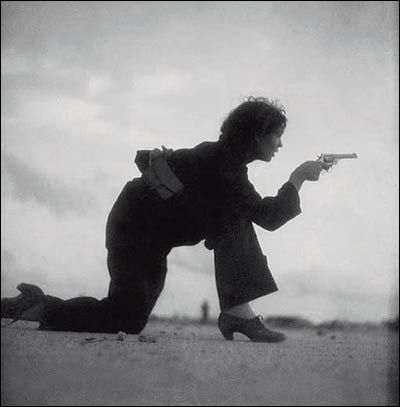 Woman in Barcelona, Spain training for a Republican militia, August 1936. By Gerda Taro (1910-1937) Polish war photographer and companion and professional partner of photographer Robert Capa. Taro is regarded often as the first female photojournalist to cover the front lines of a war and to die while doing so. She died near Brunete, Madrid.