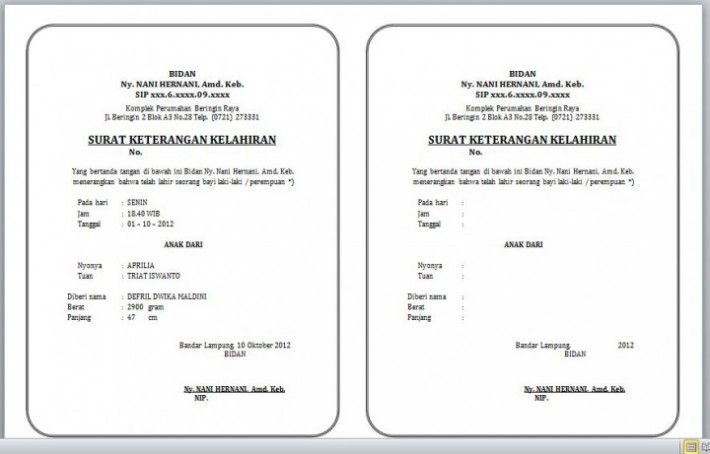 Contoh Format Surat Keterangan Lahir Dari Rumah Sakit Surat Pengunduran Diri Surat Akta Kelahiran