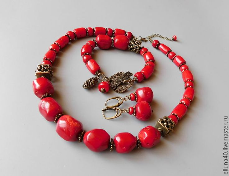 Купить Колье из коралла. - ярко-красный, коралл, коралловые бусы, коралл красный, коралл натуральный
