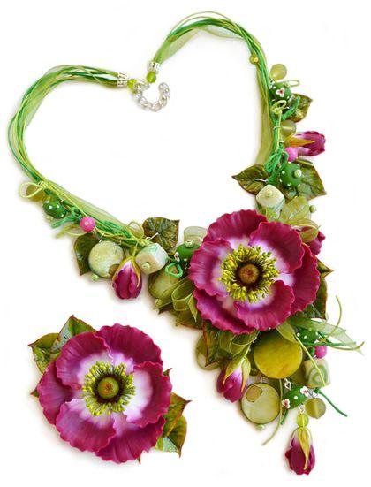 "Комплект ""Анемона"" - фуксия,анемоны,анемон,комплект украшений,украшения с цветами"