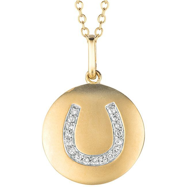 14k Gold over Silver 1/10ct TDW Diamond Horseshoe Necklace