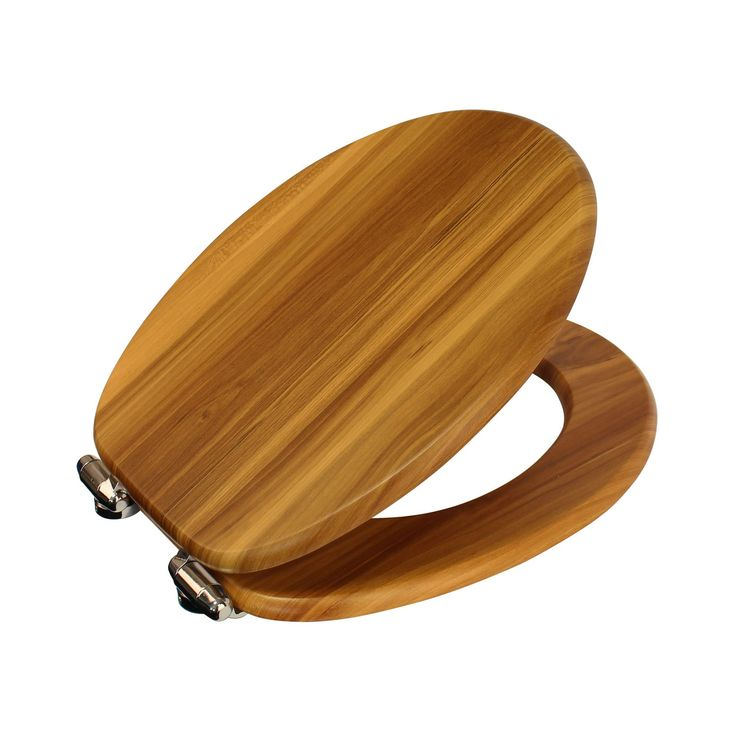 Antique Pine and Chrome Soft Close Wooden Toilet Seat Norfolk image